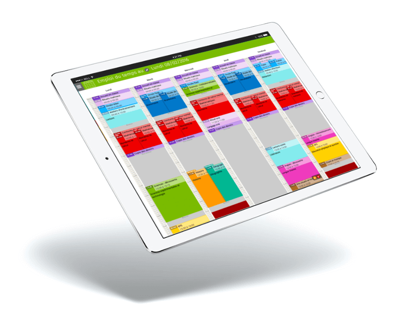 Interface educartable sur Ipad